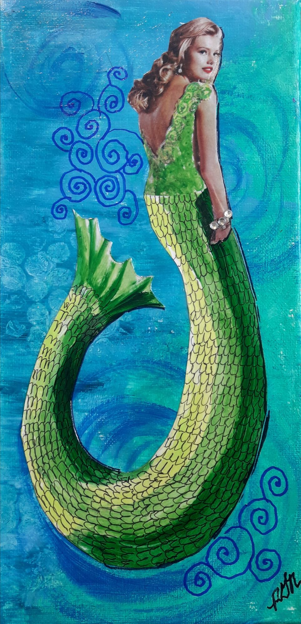 Sea Siren mermaid art for the beach