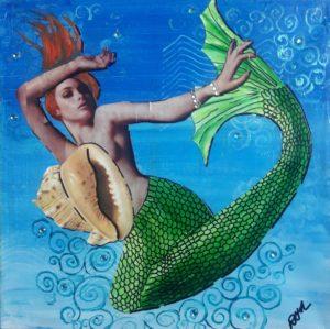Shell Game Mermaid Artwork for Beach Cottage