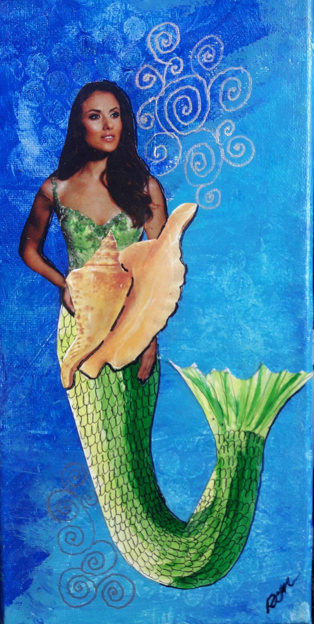 Shell Game 3 Mermaid Artwork for seaside cottage